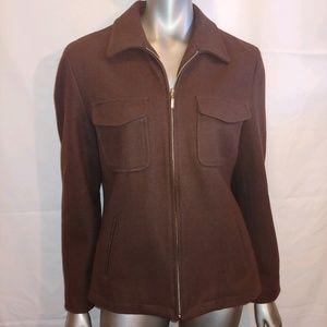 J Crew Brown Wool zippered Jacket - L - B11